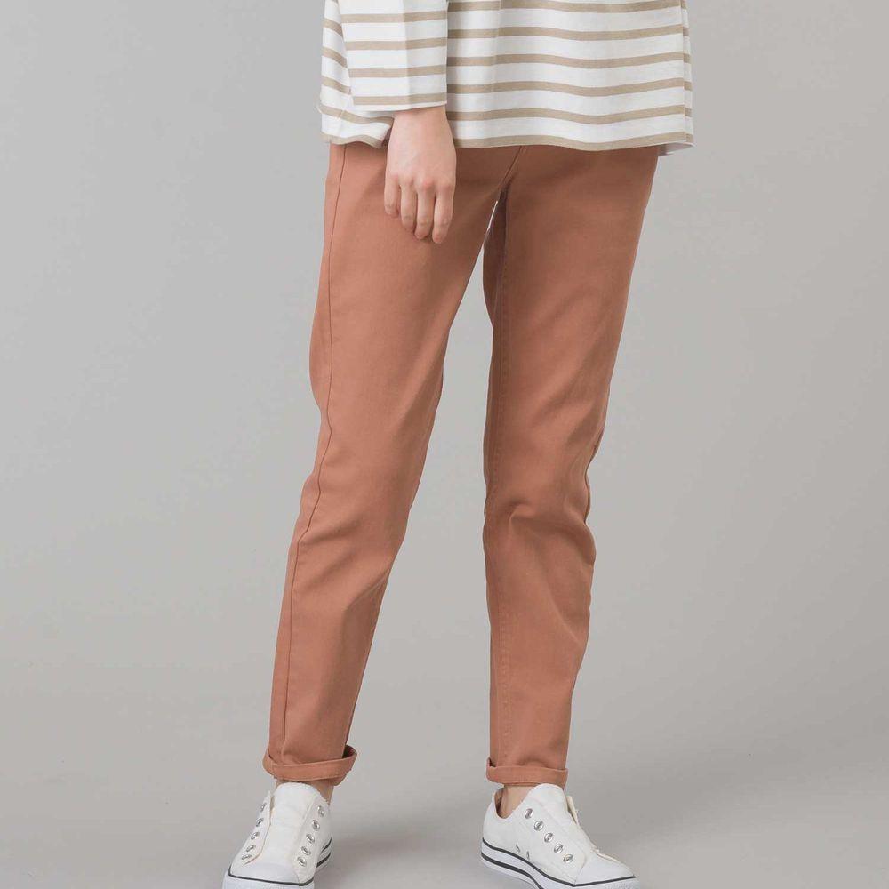 日本女裝代購 - 純棉舒適彈力休閒褲 (拉鍊/後腰鬆緊)-奶茶橘