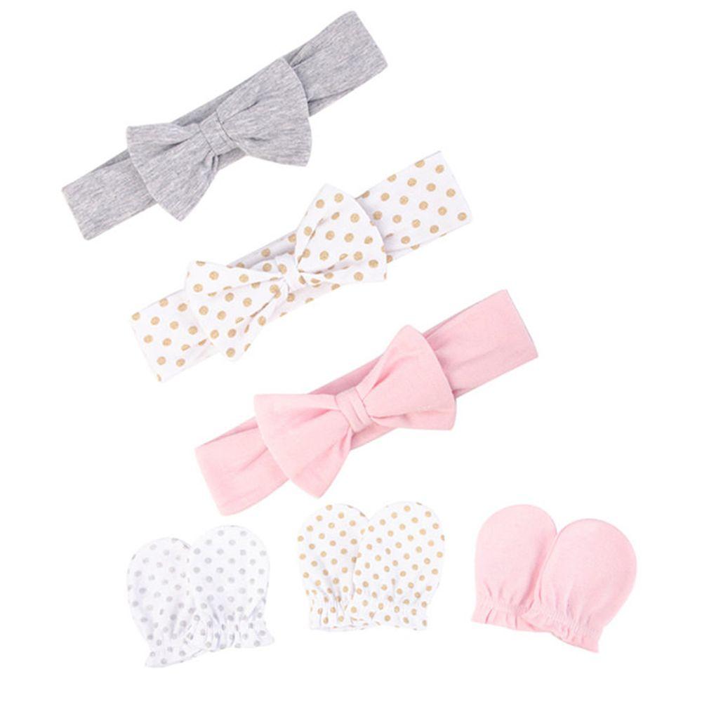 美國 Luvable Friends - 嬰幼兒新生兒髮帶3入組+100%純棉防抓手套護手套3入組-素面點點 (單一尺寸)