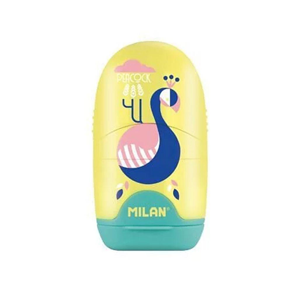 MILAN - 太空膠囊橡皮擦+削筆器-孔雀-溫暖黃