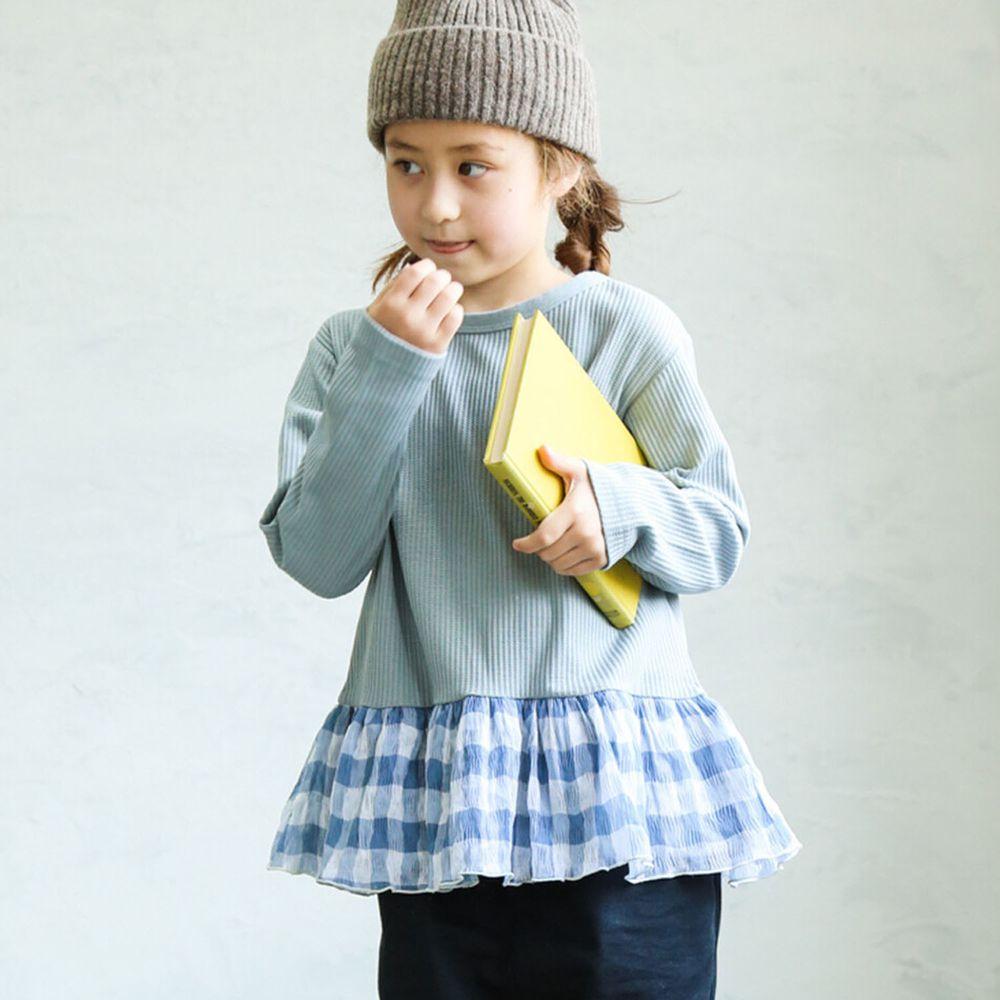 日本 PAIRMANON - 下擺荷葉拼接鬆餅紋長袖上衣-條紋-藍灰