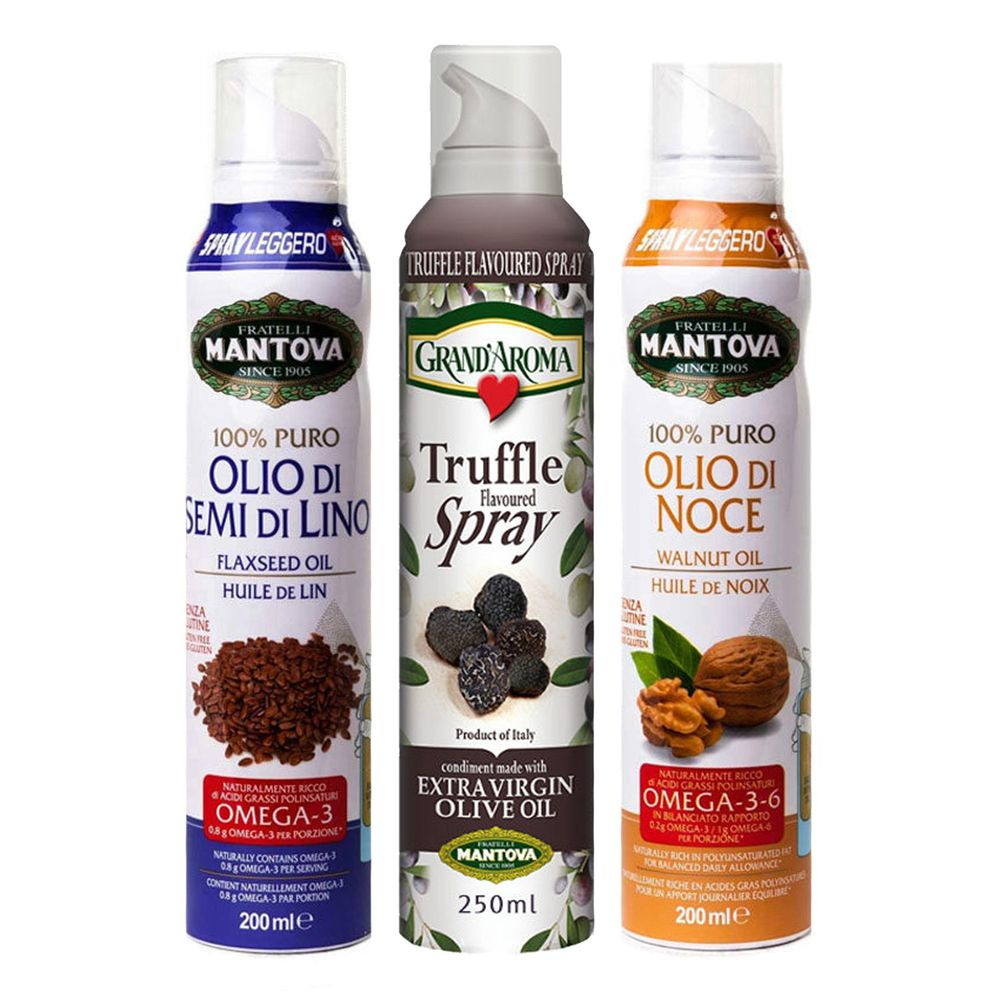 義大利Mantova曼托瓦 - 含運組- 噴噴油3入組-核桃油200ml+亞麻籽油200ml+松露風味橄欖油(2021/04/29)250ml