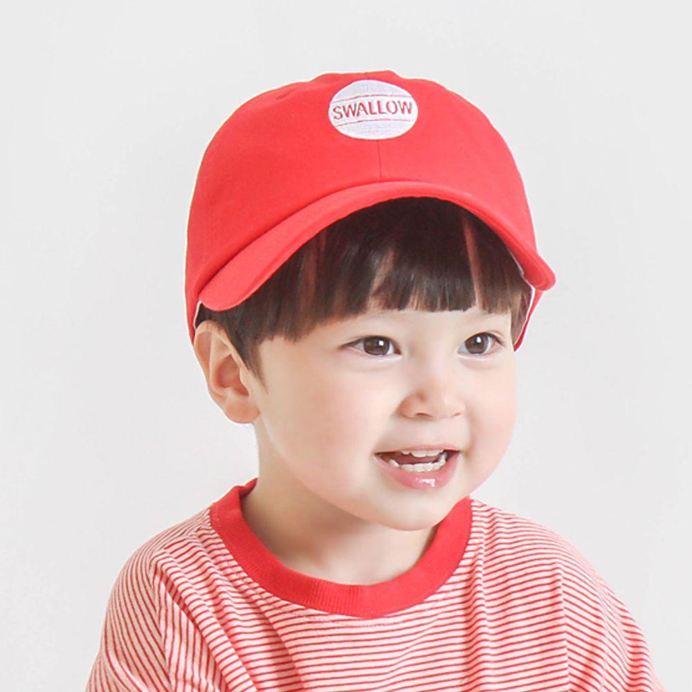 韓國 Babyblee - 字母徽章純色棒球帽-紅 (頭圍:51-55cm)