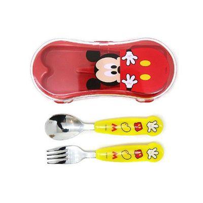 學習湯匙+叉子組-可愛米奇-附收納盒