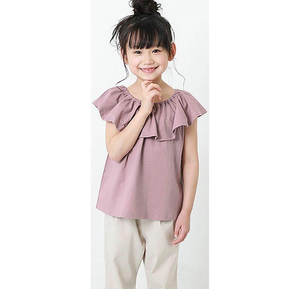 日本 devirock - 荷葉衣領無袖T/親子裝-星塵紫