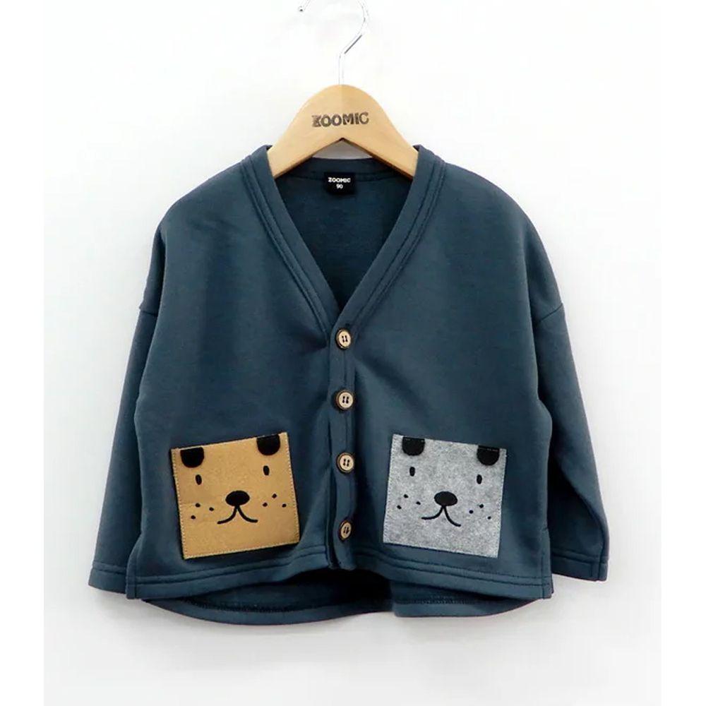 日本 ZOOLAND - 開襟外套-雙色狗狗-深藍