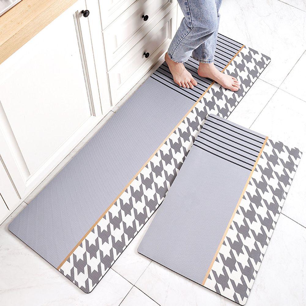 廚房仿皮革PVC防水腳踏墊-千鳥格紋