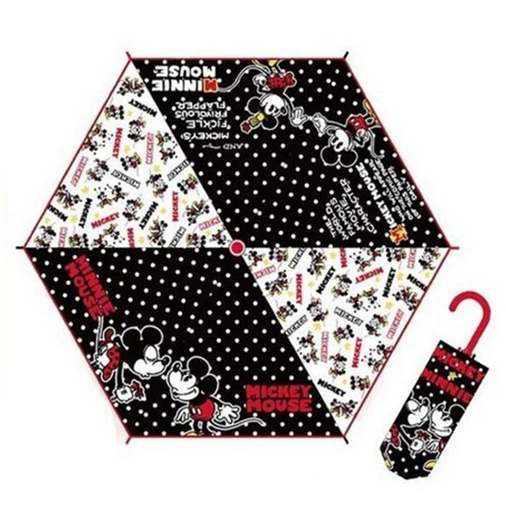 日本代購 - 卡通折疊雨傘-黑白米妮米奇 (53cm(125cm以上))