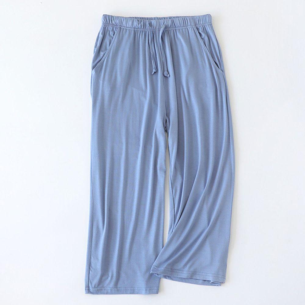 莫代爾柔軟涼感七分褲-藍色