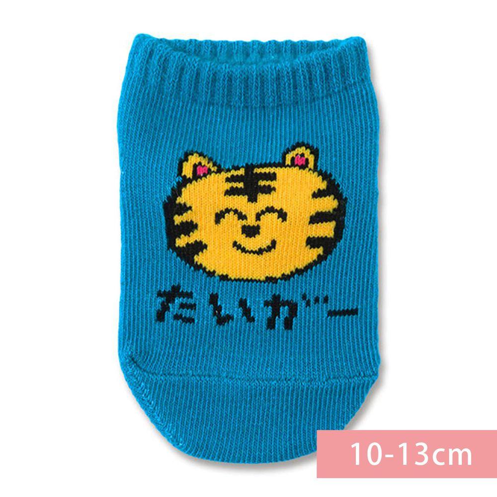 日本 OKUTANI - 童趣日文插畫短襪-老虎-藍 (10-13cm(1-3y))