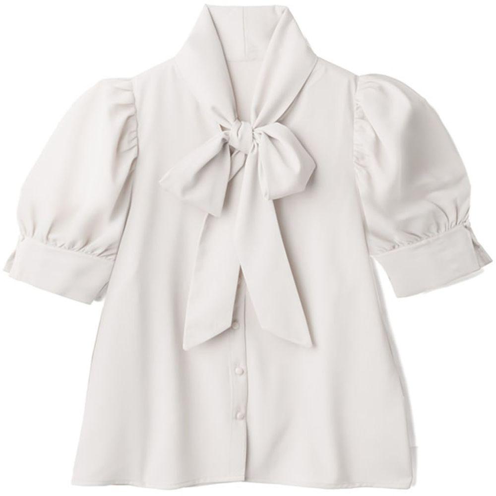 日本 GRL - 大蝴蝶領結澎澎短袖上衣-白
