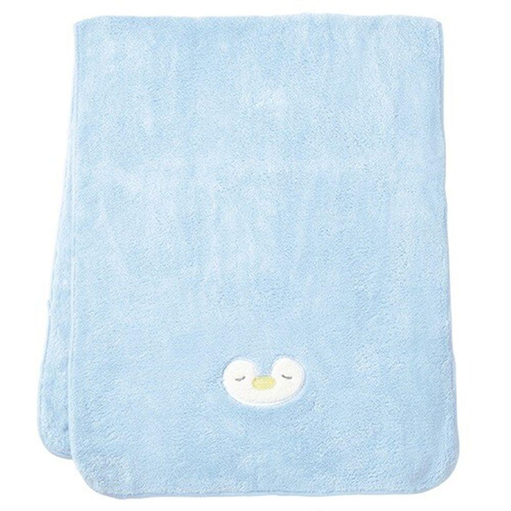 日本 LIV HEART - 5倍吸水力蓬鬆柔軟 長毛巾-企鵝-藍 (40x100cm)