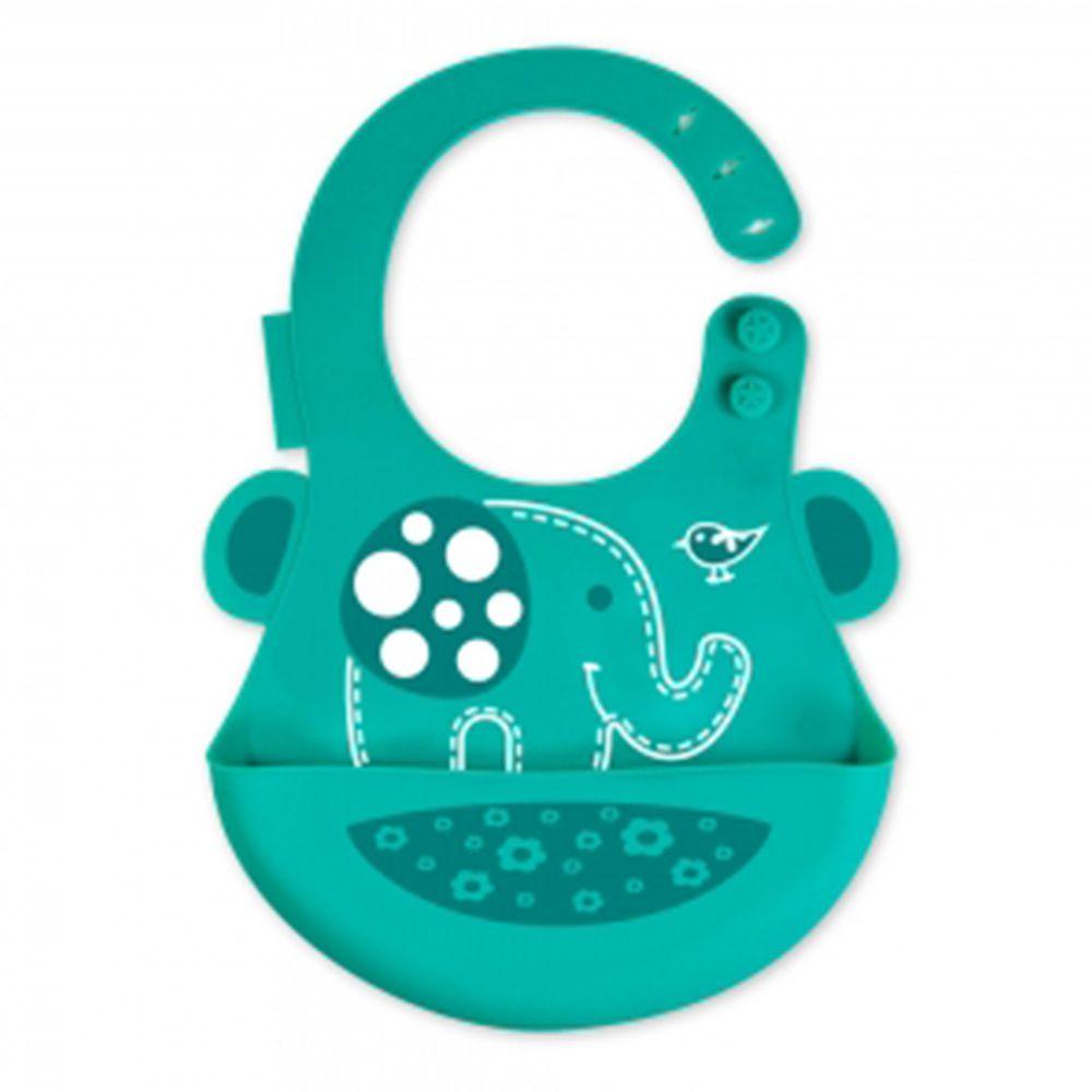 MARCUS&MARCUS - 動物樂園矽膠立體圍兜-綠大象