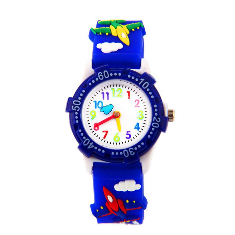 3D立體卡通兒童手錶-可旋轉錶圈-深藍飛機