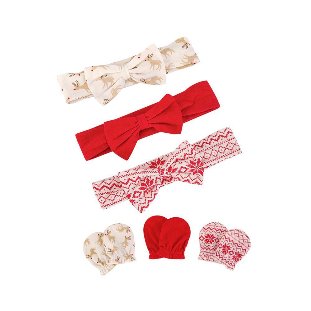 美國 Luvable Friends - 嬰幼兒新生兒髮帶3入組+100%純棉防抓手套護手套3入組-紅色麋鹿 (0-6M)