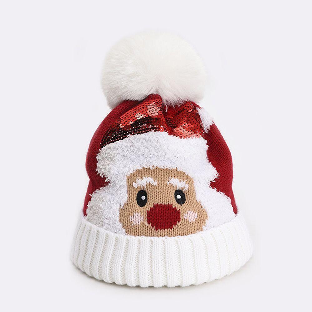 【聖誕限定款】聖誕老人針織帽-白色 (48-52CM(2-6Y))