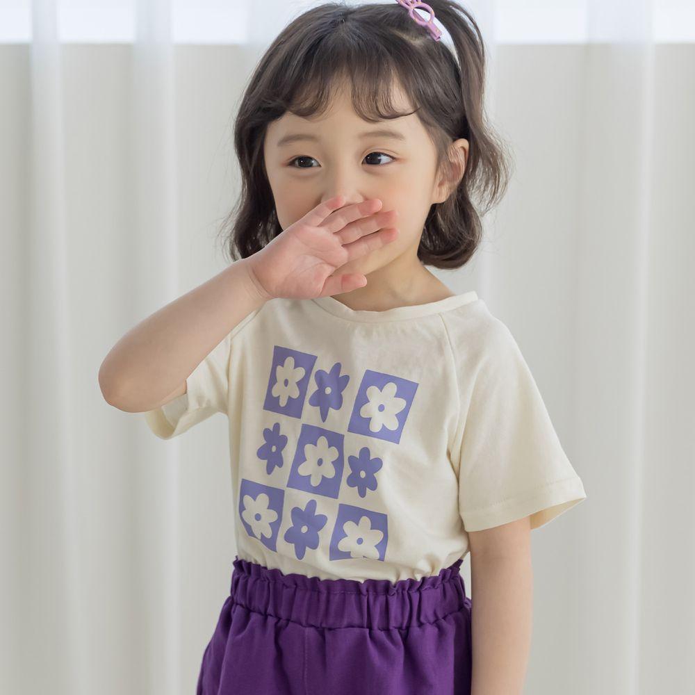 韓國 Orange Mom - 九宮格花朵上衣-米白