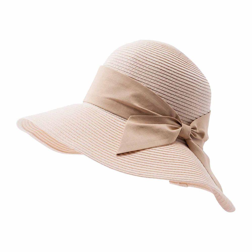 日本小泉 - UV cut 99% 涼感 大帽簷遮陽帽-素面寬版蝴蝶結-杏 (可調頭圍~58cm)