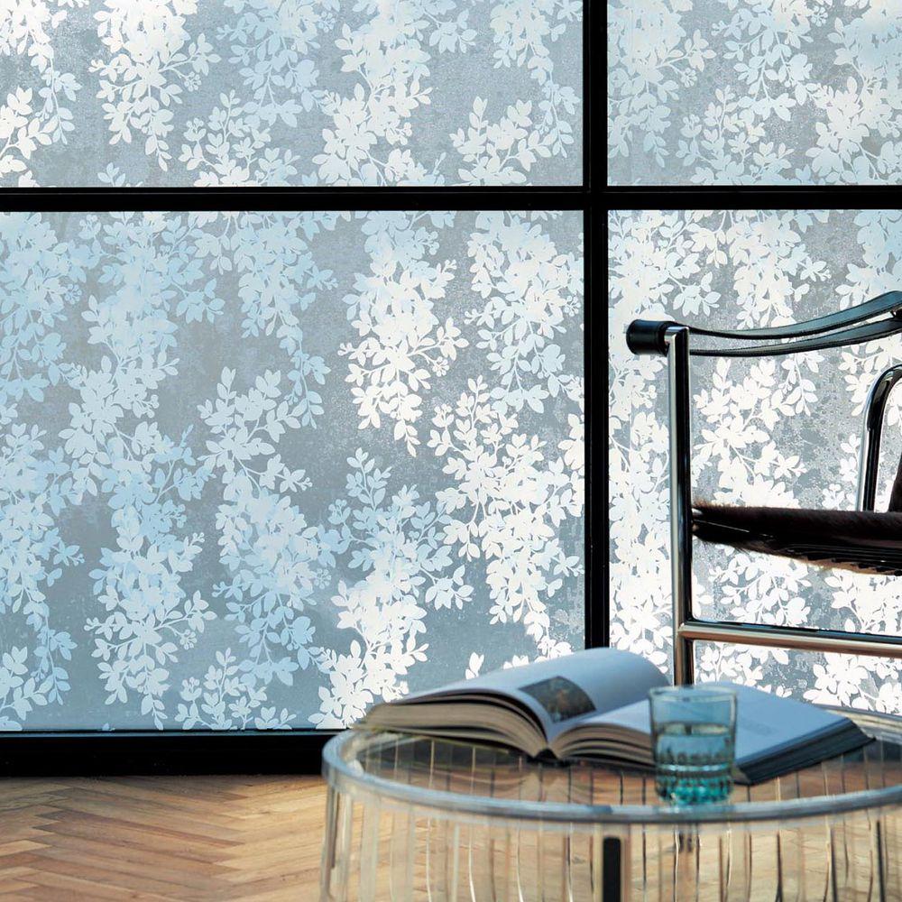 日本千趣會 - 日本製 99%抗UV光影窗貼(靜電式)-白色葉子