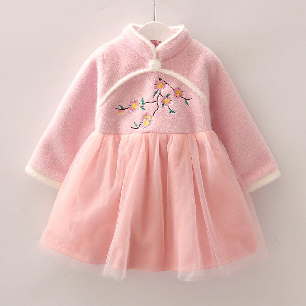 花開富貴旗袍紗裙-粉色
