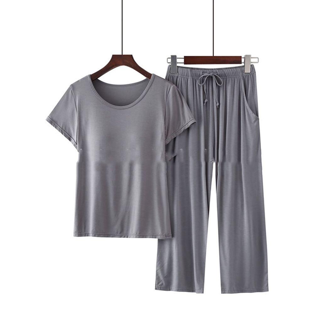 莫代爾柔軟涼感Bra T家居服-七分褲套裝-深灰色