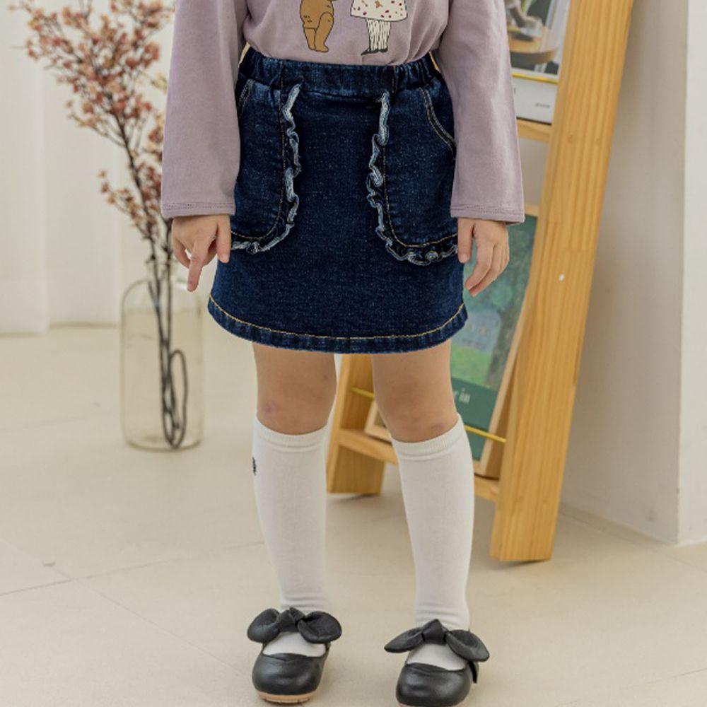 韓國 Orange Mom - 荷葉邊口袋牛仔裙