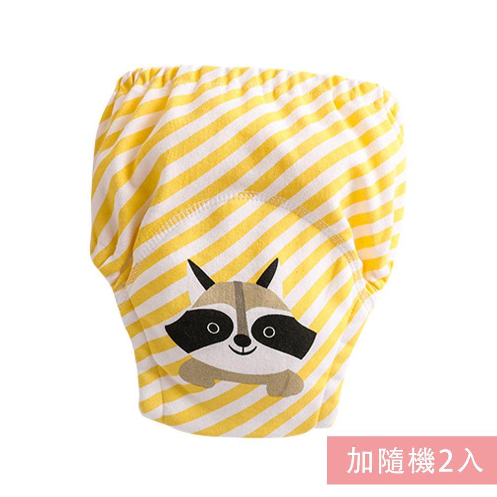 JoyNa - 純棉舒適四層紗3層學習褲-3件入-黃條浣熊+隨機2入