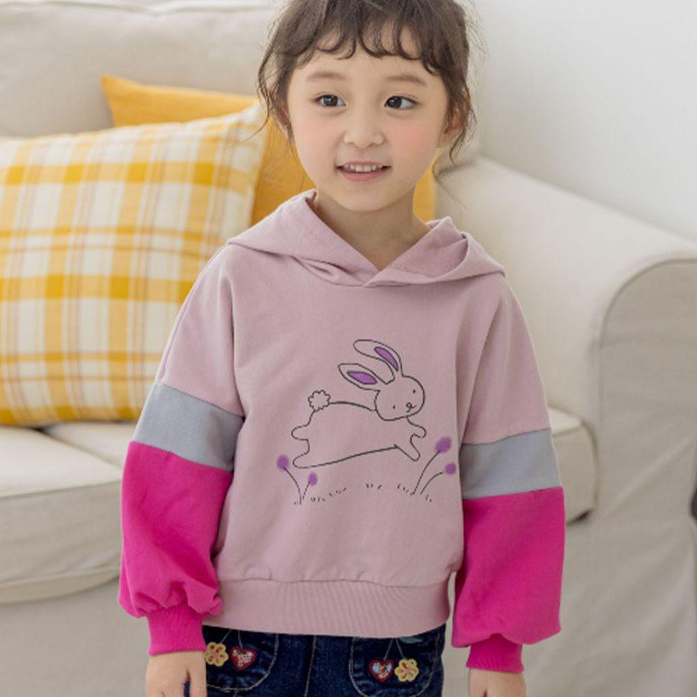 韓國 Orange Mom - 開心小兔三色袖連帽T-粉紅