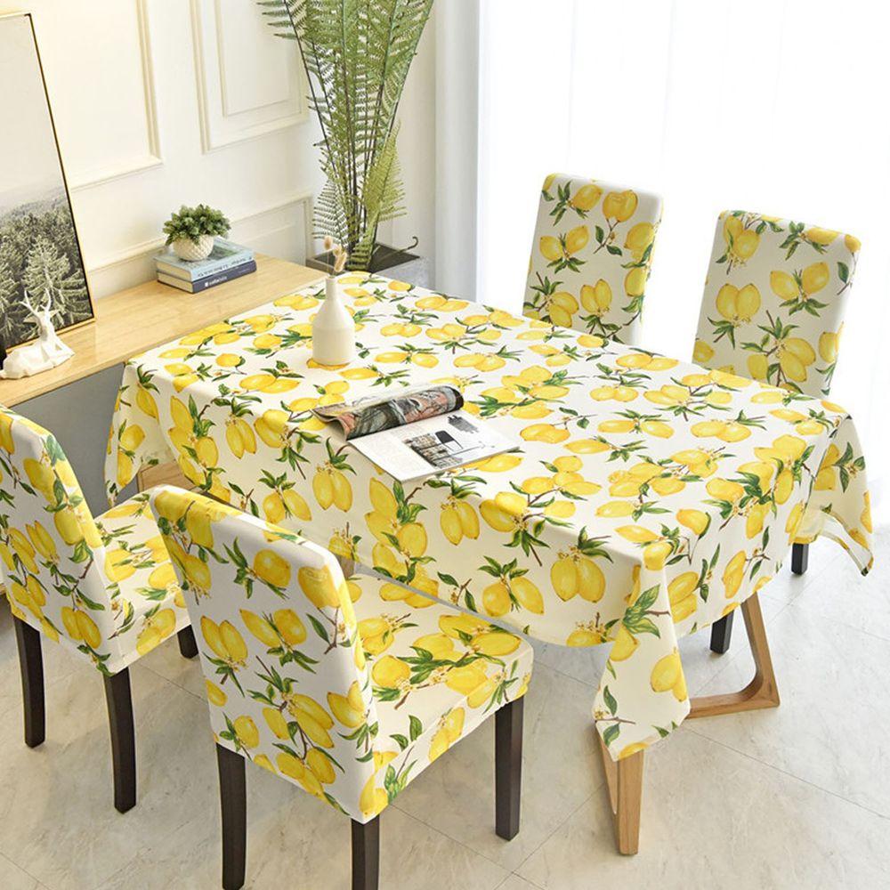 防水防油免洗桌布-檸檬-米白色