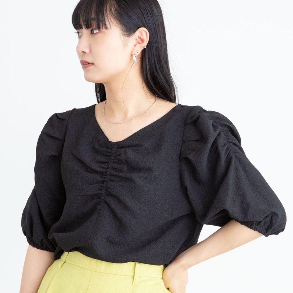 日本 ELENCARE DUE - 前後2way浪漫抓皺短袖上衣-黑