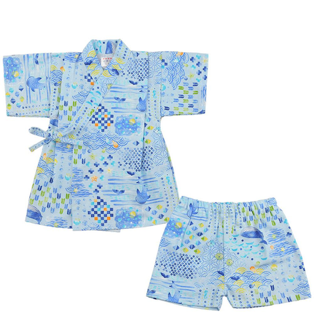 akachan honpo - 兩件式甚平-海洋生物-藍色