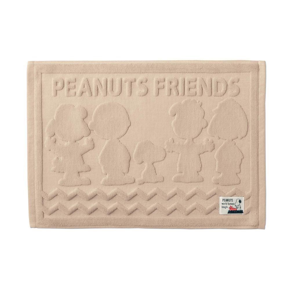 日本千趣會 - 史努比 純棉吸水立體剪影毛巾腳踏墊-好朋友-杏 (43x60cm)