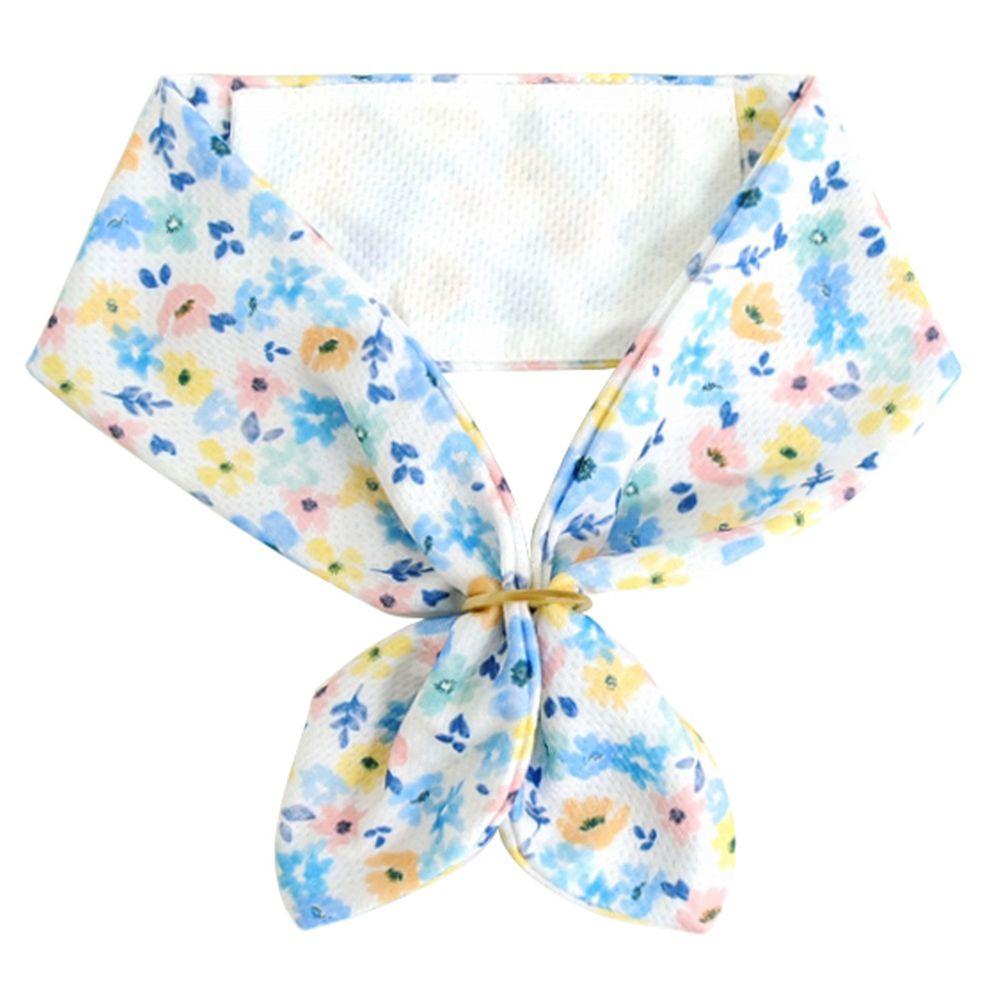 日本 DAIKAI - 抗UV接觸冷感 水涼感領巾(可放保冷劑)-百花齊放-粉黃藍 (70x8cm)