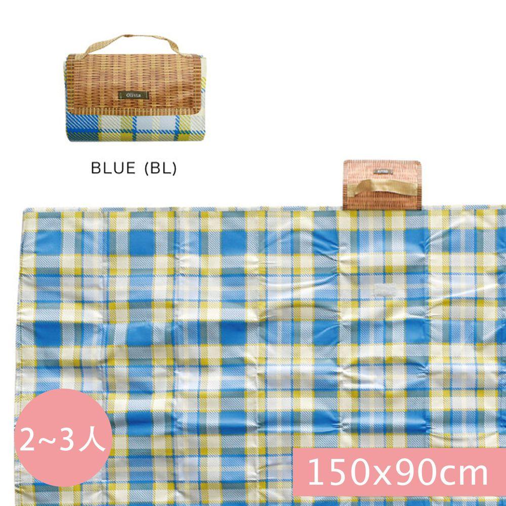 日本現代百貨 - 輕便可收納 防水野餐墊(2-3人)-藍黃格紋 (150x90cm)