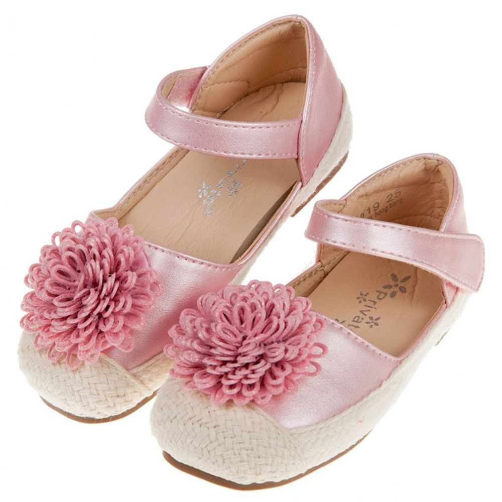 夏日編織緹花粉色兒童公主鞋