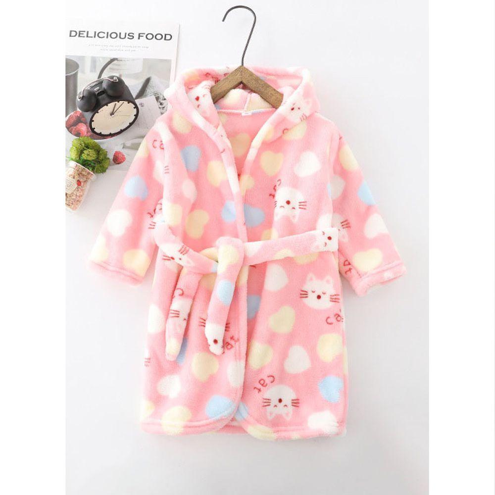超柔軟珊瑚絨浴袍睡衣-粉色小貓