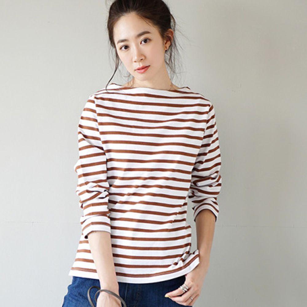 日本 zootie - [撥水/撥油加工] 純棉百搭八分袖上衣-細條紋-咖啡棕