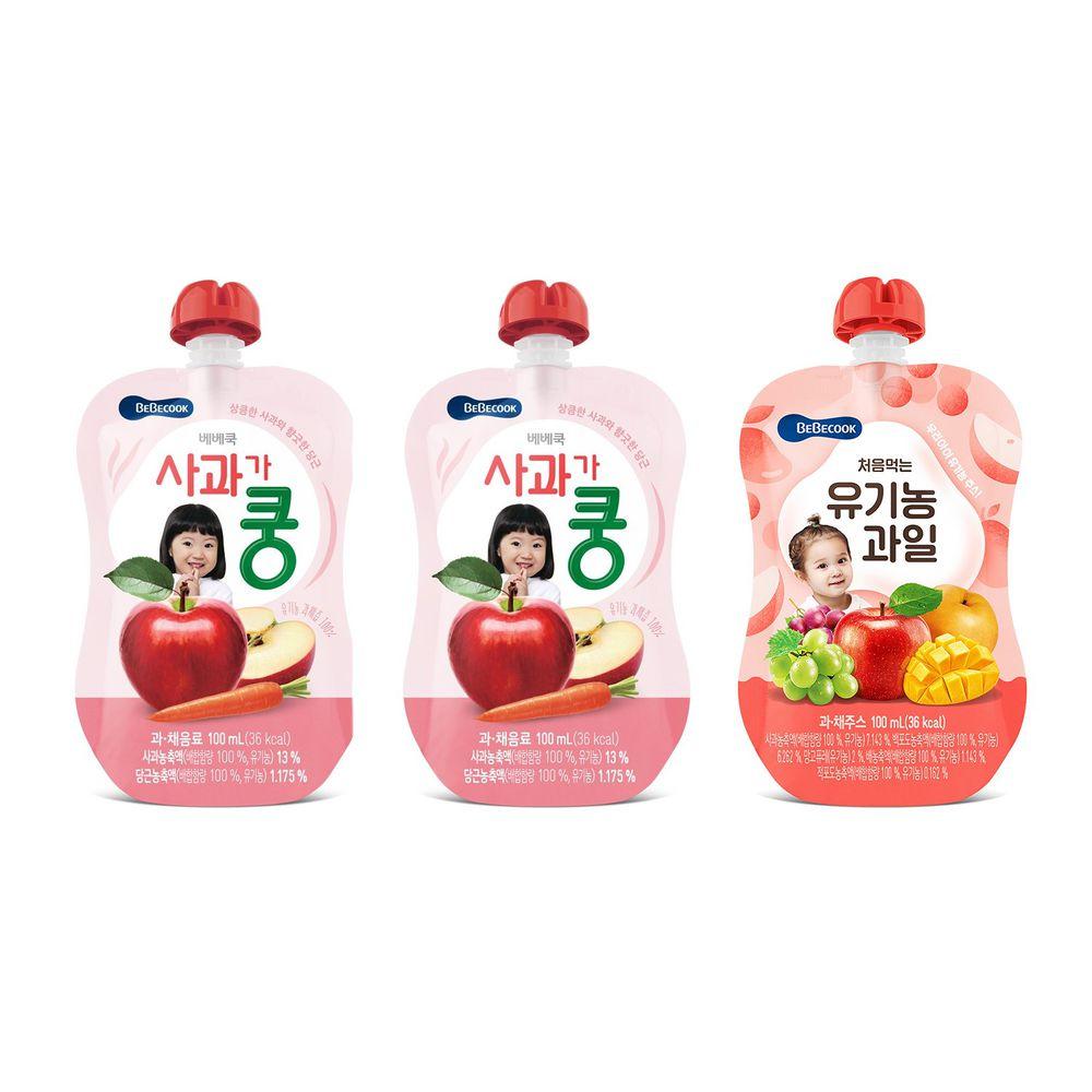 BEBECOOK 寶膳 - 智慧媽媽 嬰幼兒果汁系列-中寶寶組 三入-蘋果紅蘿蔔7M*2+綜合果汁9M*1