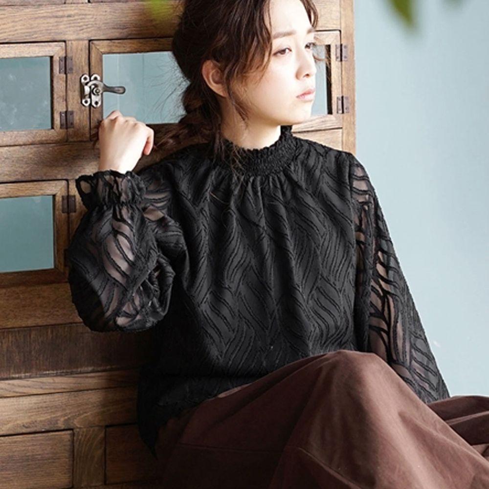 日本 zootie - 立體刺繡風葉紋雪紡上衣-黑