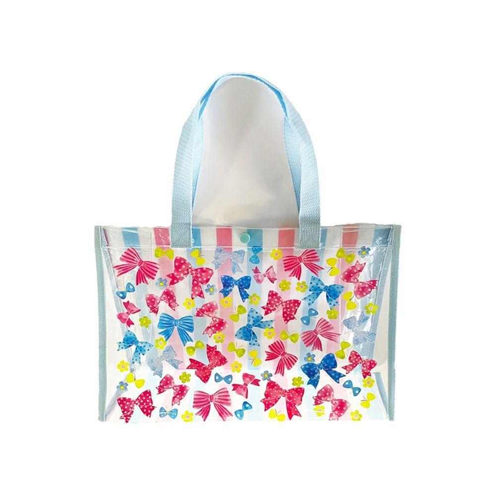 日本服飾代購 - 防水PVC游泳包(雙面圖案設計)-繽紛蝴蝶結-水藍 (25x36x13cm)