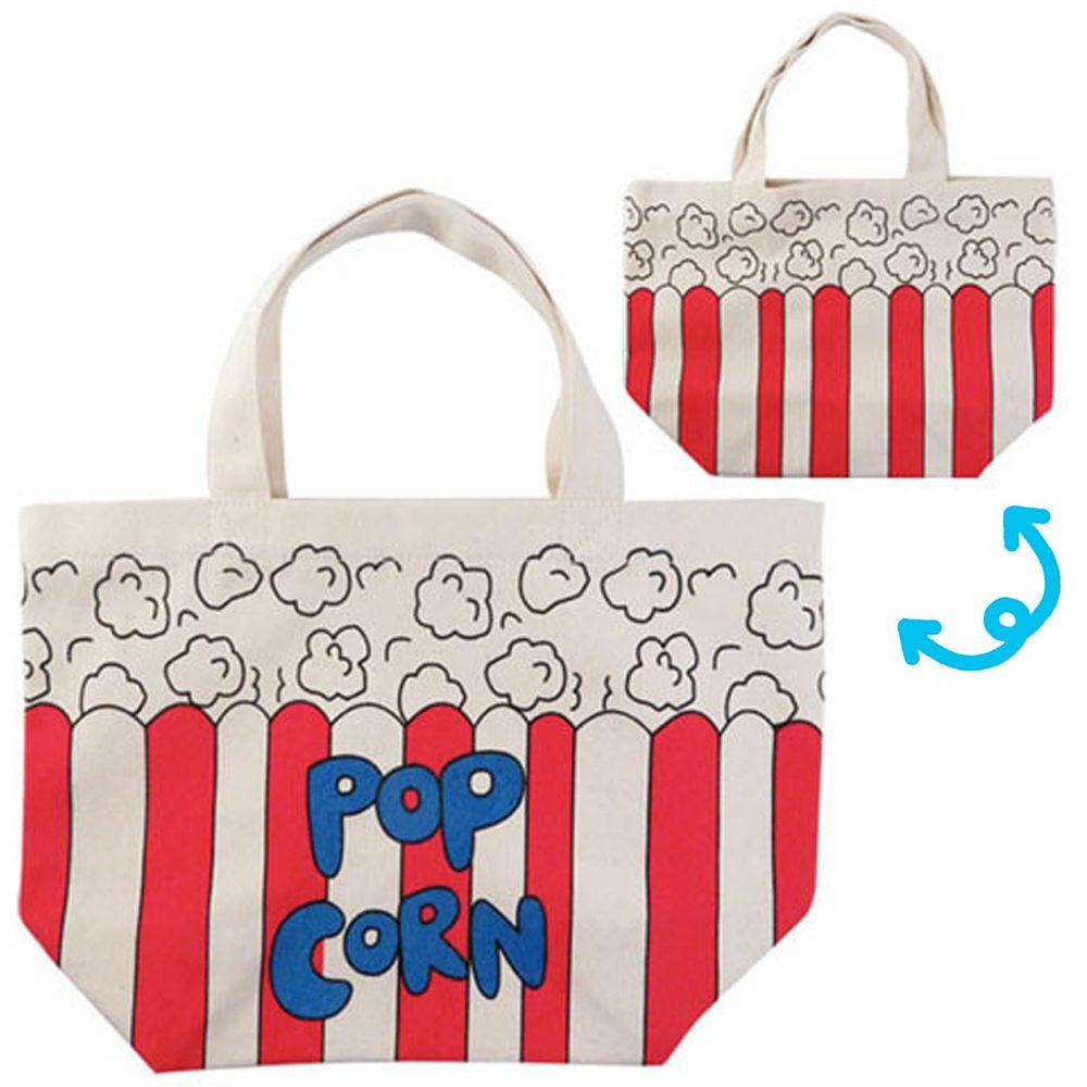 日本 OKUTANI - 童趣插畫純棉手提袋-爆米花-紅條紋 (29x20cm)