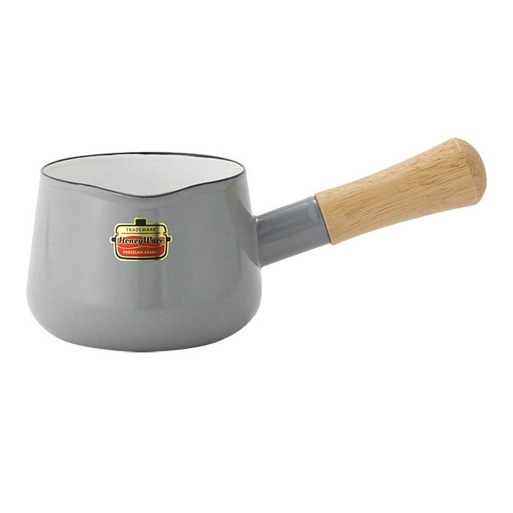 FUJIHORO 富士琺瑯 - Solid 經典系列-12cm單柄琺瑯牛奶鍋-淺灰-容量:0.75L 重量:0.5kg
