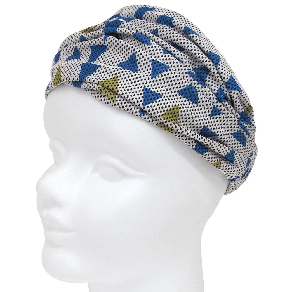 日本 DAIKAI - 3way吸水速乾UV CUT加工 涼感頭巾/髮帶/領巾-幾何三角-藍黃