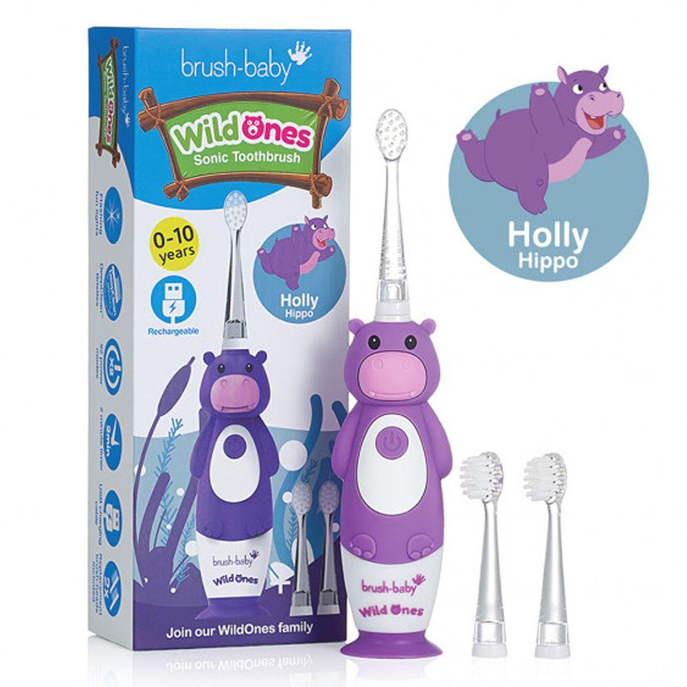 英國 brush-baby - 充電式聲波電動牙刷-河馬-歐菈-0-10歲