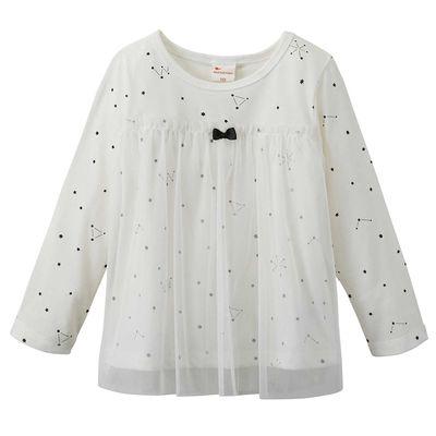 女孩薄紗分層風格上衣-滿天星空-白色
