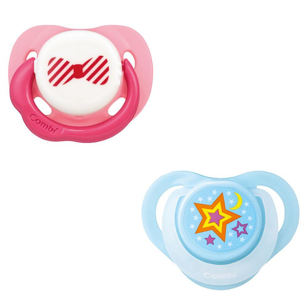 日本 Combi - 24H滿滿安全感 安撫奶嘴組合-微笑安撫奶嘴M+睡眠奶嘴L-微笑粉+甜藍