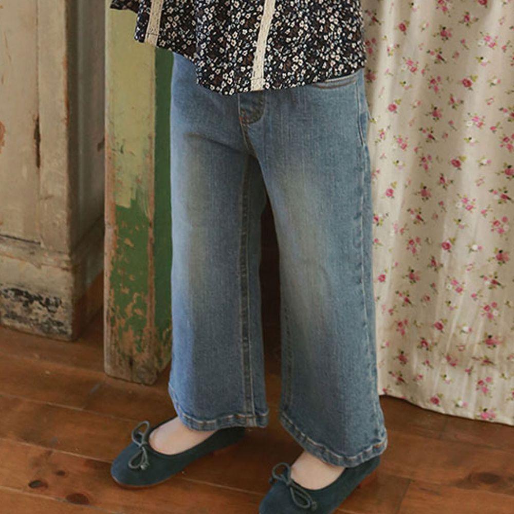 韓國 Puellaflo - 修身鬆緊帶牛仔褲-淺藍
