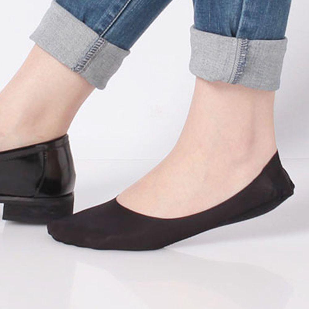 日本 okamoto - 超強專利防滑ㄈ型隱形襪-深履款-黑-足底棉混