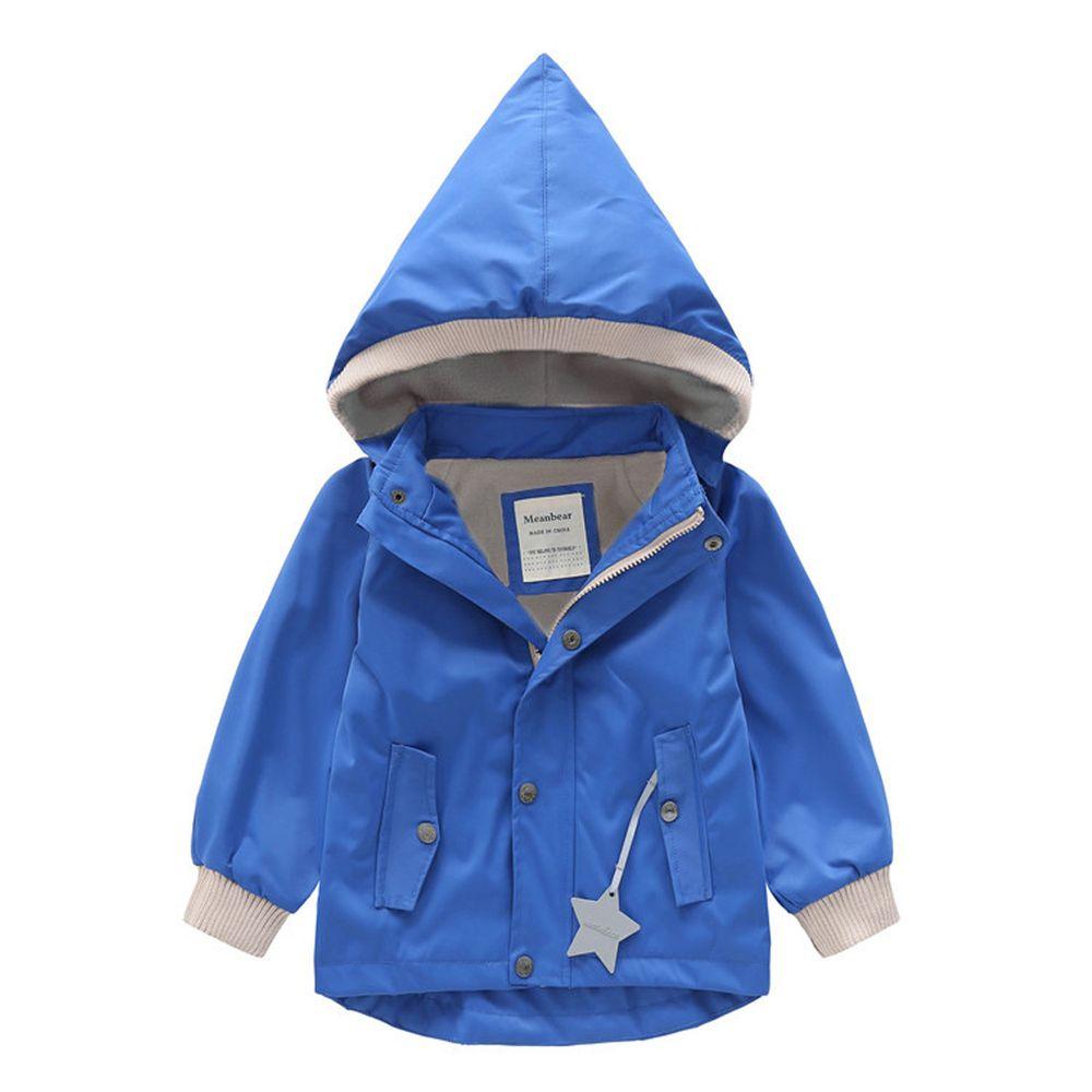 防風防雨加絨衝鋒外套-尖帽-藍色