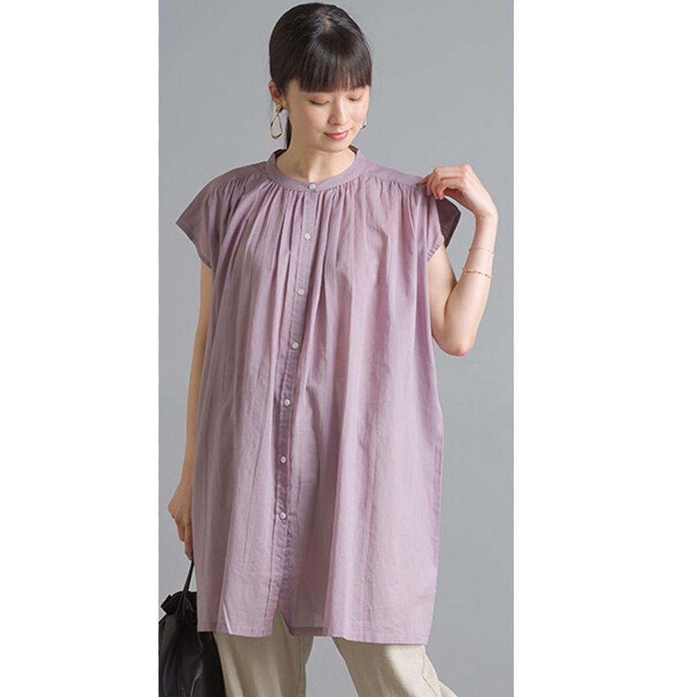 日本女裝代購 - 輕盈壓摺中山領純棉一分袖上衣-薰衣草 (Free size)