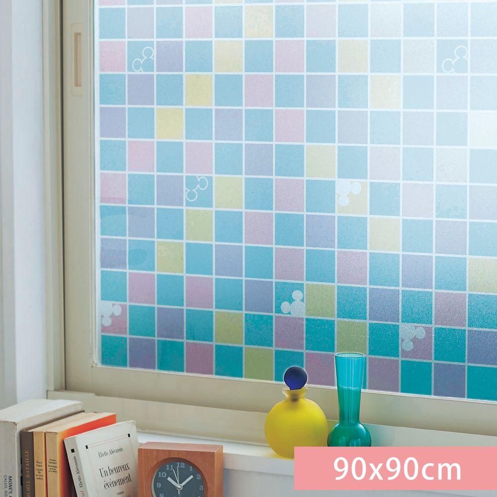日本千趣會 - 迪士尼 日本製 90%抗UV光影窗貼(靜電式)-米奇繽紛馬賽克 (90x90cm)